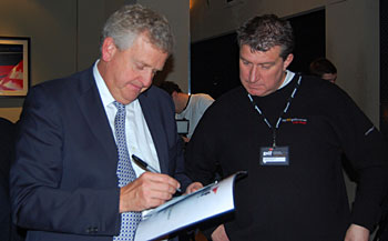 Colin Montgomerie and Top 100's Andy at Golf Live 2011 launch