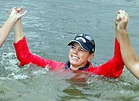 Annika takes a dip after winning the 2006 Scandinavian TPC at Bro-Balsta