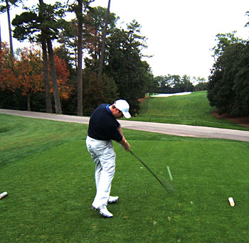Fergal O'Leary on 18 at Augusta National
