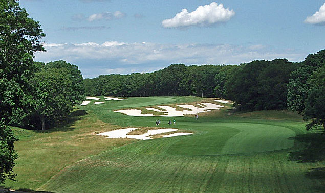 Bethpage Black's famous par-5 4th provides a powerful visual impression and worthy challenge