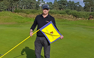 Brian Ward on the 18th green at Hankley Common