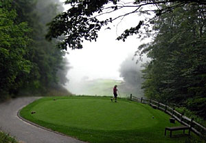 Afternoon mist at Crystal Downs 17 - photo by Steve Stradal