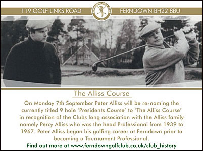 Peter Alliss renames Ferndown Golf Club's 9-hole course 'The Alliss Course'