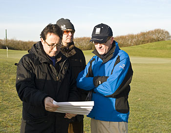 (L-R) Pascal Grizot, the Chairman of the French Federation's Ryder Cup Committee, Edward Kitson of Ryder Cup Europe and EGD Designer, Ross McMurray