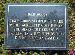 Tiger's plaque at the Mines