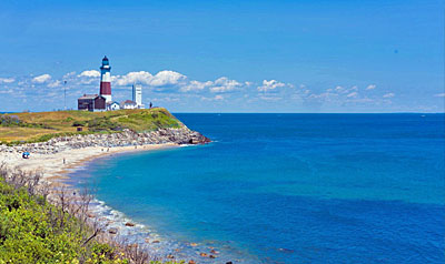 The storied Montauk Point Lighthouse casts an impressive presence where land and Atlantic Ocean meet