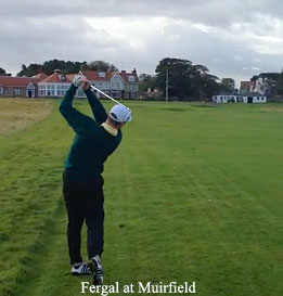 Fergal's approach to the 18th at Muirfield