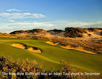 The links-style Bluffs will host an Asian Tour event in December