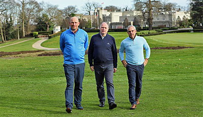 From left:Thomas Bjørn, Wentworth's Director of Golf Courses & Grounds, Kenny Mackay, and Paul McGinley