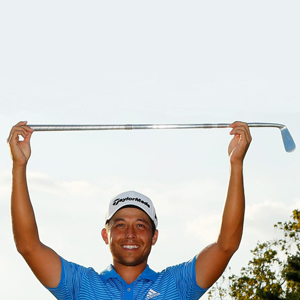 "Tour Championship Trophy - Schauffele with his ""Calamity Jane"" - Photo credit: US PGA Tour"