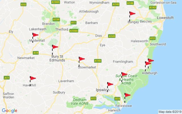 Map Of England East Coast.Suffolk Best In County Golf Courses