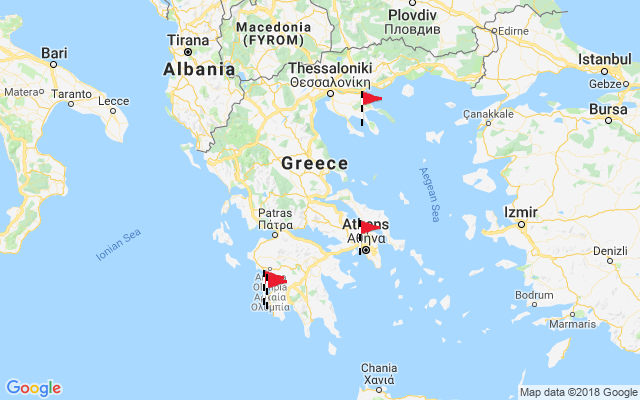Map of Greek Mainland